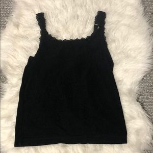 Chico's Size 0 Lacy Black Tank Top
